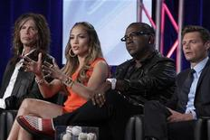 "<p>(L - R) Steven Tyler, Jennifer Lopez, Randy Jackson and Ryan Seacrest, co-hosts of ""American Idol,"" take part in a panel session at the FOX Winter TCA Press Tour in Pasadena, California January 8, 2012. REUTERS/Jonathan Alcorn</p>"