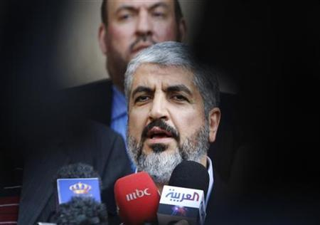 Hamas leader Khaled Meshaal speaks to reporters after his meeting with Jordan's King Abdullah at the Royal Palace in Amman January 29, 2012. REUTERS/Ali Jarekji