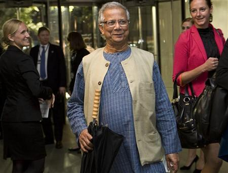 Bangladeshi economist and founder of the Grameen Bank, Muhammad Yunus, arrives at the Clinton Global Initiative Reception at the Museum of Modern Art in New York September 21, 2011. REUTERS/Allison Joyce
