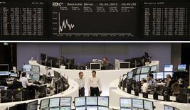 <p>Les marchés européens progressent à mi-séance à leurs plus hauts niveaux depuis l'été dernier. À Paris, vers 12h25, le CAC 40 gagne 0,21% à 3.587 points. À Francfort, le Dax prend 0,41% et à Londres, le FTSE avance de 0,36%. /Photo prise le 16 mars 2012/REUTERS/Remote/Sonya Schoenberger</p>