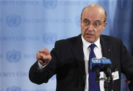 French Foreign Affairs Minister Alain Juppe speaks to the media following a Security Council meeting regarding the current situation in the Middle East at the UN Headquarters in New York March 12, 2012. REUTERS/Lucas Jackson