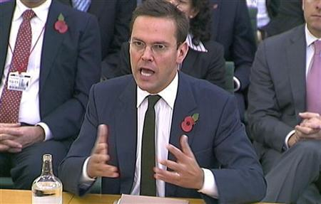 News International Chairman James Murdoch is seen speaking to parliamentarians in London in this November 10, 2011 file photograph. James Murdoch, the younger son of chairman Rupert, would relinquish his position as executive chairman of its News International unit, News Corp said on February 29, 2012. REUTERS/Parbul TV via Reuters TV/Files