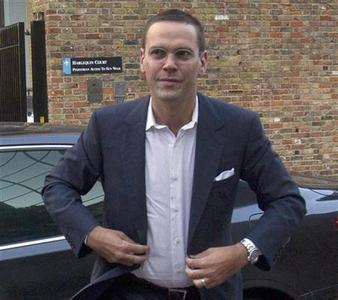 News International Chairman, James Murdoch, is seen arriving at the News International headquarters in London July 15, 2011. James Murdoch, the younger son of chairman Rupert, would relinquish his position as executive chairman of its News International unit, News Corp said on February 29, 2012. REUTERS/Olivia Harris