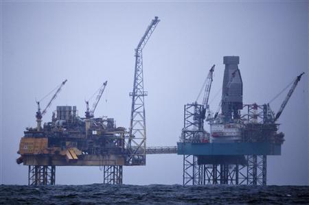 A handout photo received from environmental activist group Greenpeace shows the Elgin North Sea platform off the coast of Scotland April 2, 2012. REUTERS/Joerg Modrow/Greenpeace