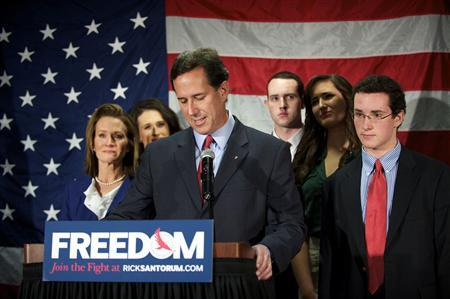 U.S. conservative presidential candidate Rick Santorum announces he is suspending his bid to win the Republican nomination during a news conference in Gettysburg, Pennsylvania April 10, 2012. REUTERS/Mark Makela