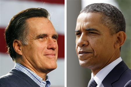 Republican presidential candidate and former Massachusetts Governor Mitt Romney and President Barack Obama are seen in a combination file photo. REUTERS/Jim Bourg and Jason Reed