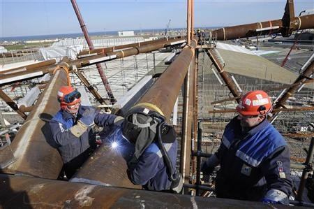 Welders work on the jacket section of the York platform at the Heerema Fabrication Group plant in Hartlepool, northern England March 6, 2012. REUTERS/Nigel Roddis