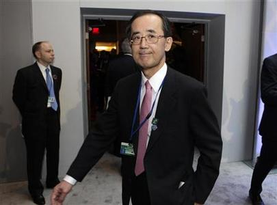 Governor of the Bank of Japan Masaaki Shirakawa arrives at the G-20 meeting during the spring International Monetary Fund (IMF)-World Bank meetings in Washington April 20, 2012. REUTERS/Yuri Gripas