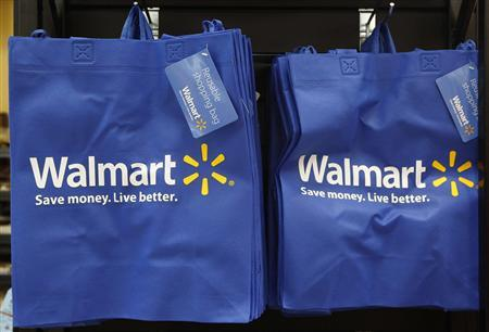 Re-useable Walmart bags are seen in a newly opened Walmart Neighborhood Market in Chicago in this September 21, 2011 file photo. REUTERS/Jim Young