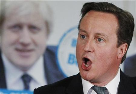 Britain's Prime Minister David Cameron speaks during London Mayor Boris Johnson's re-election campaign rally in Orpington, southeast London, April 17, 2012. REUTERS/Luke MacGregor