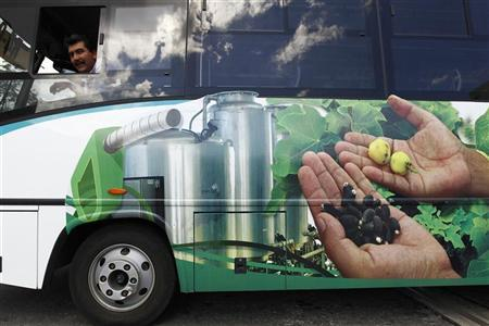 A bus with a picture promoting the use of biodiesel, transport delegates attending the UN Climate Change Conference COP16 in Cancun December 5, 2010. REUTERS/Jorge Silva