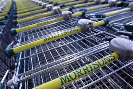 Shopping trolleys are stored outside a Morrisons store in Welling, south east London November 24, 2009. REUTERS/Stefan Wermuth