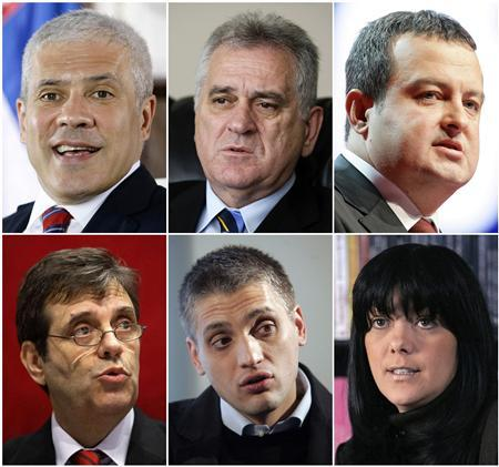 Candidates for the 2012 Serbian presidential election Boris Tadic, Tomislav Nikolic, Ivica Dacic (top row, L-R), Vojislav Kostunica, Cedomir Jovanovic and Jadranka Seselj (bottom row, L-R) are seen in Belgrade, in this combination picture made from undated file pictures. REUTERS/Marko Djurica