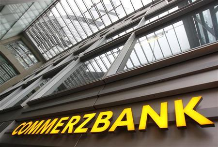 The entrance of the German Commerzbank headquarters is pictured in Frankfurt, January 19, 2012. REUTERS/Alex Domanski