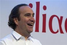 <p>Xavier Niel, fondateur d'Iliad. Le groupe, qui a vu son chiffre d'affaires progresser de 28,6% au premier trimestre, signe une des plus fortes hausses (3,78%) de l'indice SBF 120, à la mi-séance. /Photo prise le 8 mars 2012/REUTERS/Charles Platiau</p>