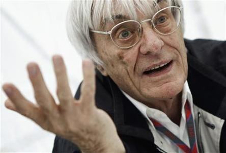 Formula One commercial supremo Bernie Ecclestone gestures during an interview prior to the German F1 Grand Prix at the Nuerburgring circuit in this July 23, 2011 file photo. REUTERS/Alex Domanski