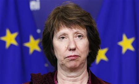 European Union Foreign Policy Chief Catherine Ashton attends a signing ceremony for a cooperation agreement with Iraqi Foreign Minister Hoshyar Zebari (not pictured) at the EU Commission headquarters in Brussels May 11, 2012. REUTERS/Francois Lenoir