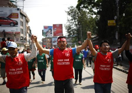 Protesters participate in a rally during the three-day long general strike called by the Nepal Federation of Indigenous Nationalities (NEFIN) in Lalitpur May 22, 2012. REUTERS/Navesh Chitrakar