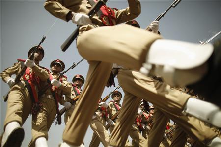 Military cadets march during a parade marking the 22nd anniversary of Yemen's reunification in Sanaa May 22, 2012. REUTERS/Khaled Abdullah