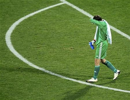 Denmark's goalkeeper Thomas Sorensen walks off the pitch at the end of a 2010 World Cup Group E soccer match against Japan at Royal Bafokeng stadium in Rustenburg June 24, 2010. REUTERS/Radu Sigheti