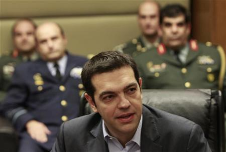 Head of Greece's radical left SYRIZA party Alexis Tsipras visits the Defence Ministry in Athens May 29, 2012. REUTERS/John Kolesidis