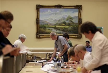 The counting of votes begins in the City West Conference Centre, in Dublin June 1, 2012. REUTERS/Cathal McNaughton
