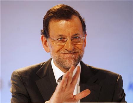 Spain's Prime Minister Mariano Rajoy gestures during the XXVIII Meeting of the Economic Circle ''Cercle D'economia'' in Sitges, near Barcelona June 2, 2012. REUTERS/Gustau Nacarino