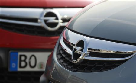 Opel cars are pictured at the Opel plant of Bochum in March 28, 2012. REUTERS/Ina Fassbender