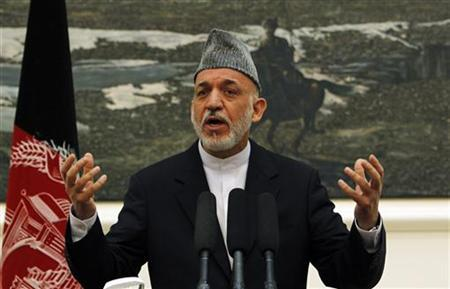 Afghan president Hamid Karzai speaks during a news conference in Kabul June 12 2012. REUTERS/Omar Sobhani