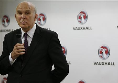 Britain's business secretary Vince Cable talks to journalists at the Vauxhall Motors plant in Ellesmere Port, northern England May 17, 2012. REUTERS/Phil Noble