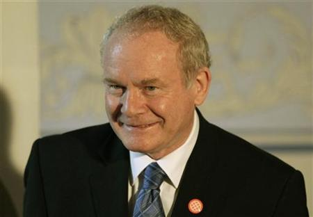 Northern Ireland's deputy first minister Martin McGuinness smiles as he attends the British-Irish Council meeting at Stirling Castle in Scotland June 22, 2012. Former Irish Republican Army (IRA) commander McGuinness will meet Britain's Queen Elizabeth for the first time next week, marking a milestone in the province's peace process. The queen has never met a senior figure in the now-defunct IRA, which killed her relative Lord Mountbatten in 1979, or its political wing Sinn Fein. REUTERS/David Moir