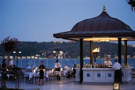 Drinks are prepared at Aqua Restaurant, at Four Seasons Istanbul's Bosphorus property. REUTERS/Handout