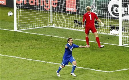 Italy's Alessandro Diamanti celebrates after scoring a winning penalty goal against England's Joe Hart during their Euro 2012 quarter-final soccer match at the Olympic stadium in Kiev June 24, 2012. REUTERS/Michael Dalder