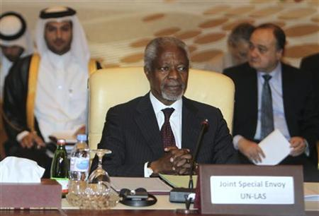 U.N.-Arab League special envoy Kofi Annan attends an Arab ministerial committee meeting to discuss the Syrian crisis, in Doha June 2, 2012. REUTERS/Stringer