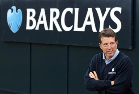Bob Diamond, Chief Executive of Barclays PLC, stands next to the eighteenth green during the final round of the Scottish Open golf tournament at Castle Stuart golf course near Inverness, Scotland July 10, 2011. REUTERS/David Moir
