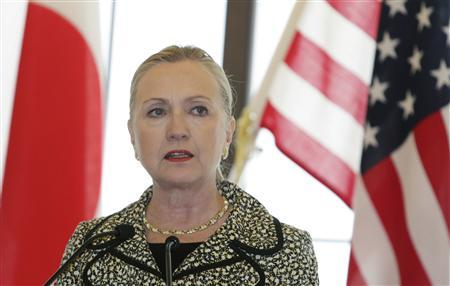 U.S. Secretary of State Hillary Clinton speaks during a joint news conference with Japan's Foreign Minister Koichiro Gemba at the Iikura Guest House in Tokyo July 8, 2012. REUTERS/Toru Hanai