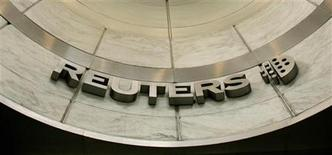 <p>شعار رويترز بمقرها في لندن يوم 15 مايو أيار 2007 - رويترز</p>