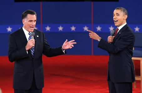 Mitt Romney and President Obama speak directly to each other during the second presidential debate in Hempstead, New York, October 16, 2012. REUTERS/Mike Segar