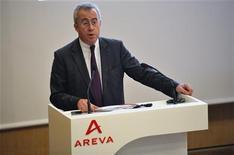 <p>Luc Oursel, le président du directoire d'Areva. Le spécialiste public du nucléaire a vu ses ventes progresser de 10% sur les neuf premiers mois de 2012, son carnet de commandes ayant par ailleurs atteint un niveau record à fin septembre. /Photo d'archives/REUTERS/Philippe Wojazer</p>