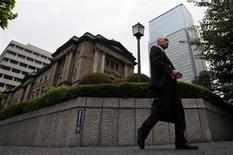 <p>Siège de la Banque du Japon. Le Japon reste embourbé dans la déflation, selon les dernières statistiques publiées vendredi, une situation qui fait monter la pression en faveur de mesures de soutien à la croissance de la part de la banque centrale japonaise la semaine prochaine. /Photo d'archives/REUTERS/Yuriko Nakao</p>