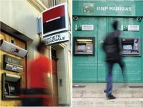 <p>Les actions des trois premières banques françaises cotées étaient sous pression vendredi matin à la Bourse de Paris au lendemain de la décision de Standard & Poor's d'abaisser la note long terme de BNP Paribas et les perspectives des notes de 10 établissements financiers. Vers 9h40, l'action BNP reculait de 3,38% à 38,25 euros, Société générale cédait 3,96% à 23,9 euros et Crédit agricole 3,45% à 5,79 euros alors que l'indice sectoriel européen cédait 1,64%.</p>