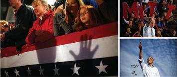<p>Barack Obama et Mitt Romney ont abordé dimanche le sprint final de la présidentielle américaine pour tenter de convaincre les derniers indécis et mobiliser leurs troupes à 48 heures d'un scrutin dans lequel ils font quasiment jeu égal. /Photos prises le 4 novembre 2012/REUTERS/Eric Thayer/Brian Snyder/Jason Reed</p>