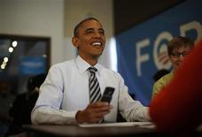 <p>Le président Barack Obama a remporté l'Etat du Vermont dans l'élection présidentielle américaine, selon des projections de la chaîne CNN. /Photo prise le 6 novembre 2012/REUTERS/Jason Reed</p>