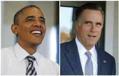 <p>Barack Obama et Mitt Romney ont remporté sans surprise mardi les Etats dans lesquels ils étaient donnés favoris mais sont engagés dans une course extrêmement serrée dans les Etats pivots, notamment en Floride, en Virginie et dans l'Ohio, selon les premières projections de la chaîne de télévision CNN. /Photos prises le 6 novembre 2012/REUTERS/Jason Reed et Brian Snyder</p>