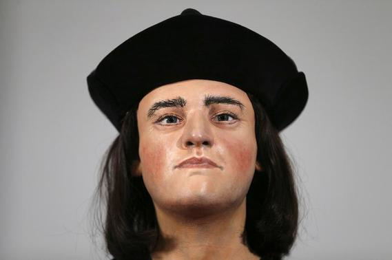 A facial reconstruction of King Richard III is displayed at a news conference in central London, February 5, 2013. The reconstruction is based on a CT scan of human remains found in a council car park in Leicester which are believed to belong to the last of the Plantagenet monarchs of Britain who was killed at the battle of Bosworth in 1485.      REUTERS/Andrew Winning