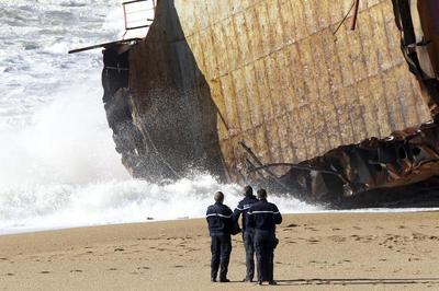 Cargo ship breaks up off France