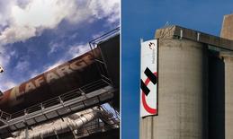 Le groupe français Lafarge et son concurrent suisse Holcim sont tombés d'accord sur les termes d'une fusion qui permettrait de créer le numéro un mondial du ciment, selon une source proche du dossier. /Photos d'archives/REUTERS/Bor Slana et Denis Balibouse