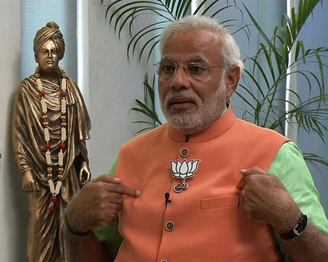 Hindu nationalist Narendra Modi, the prime ministerial candidate for India's main opposition Bharatiya Janata Party (BJP), speaks during an interview with the ANI television service at Gandhinagar in Gujarat in this still image taken from video April 16, 2014. REUTERS/ANI/Handout via Reuters