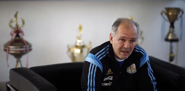 Alejandro Sabella, head coach of Argentina's national soccer team, speaks during an interview at the squad's headquarters in Buenos Aires April 23, 2014.   REUTERS/Marcos Brindicci