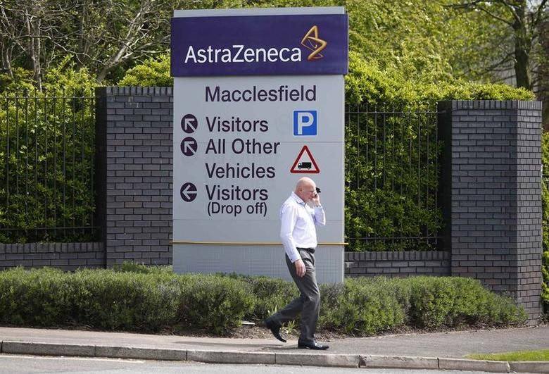 A man walks past an AstraZeneca site in Macclesfield, central England April 28, 2014.  REUTERS/Darren Staples